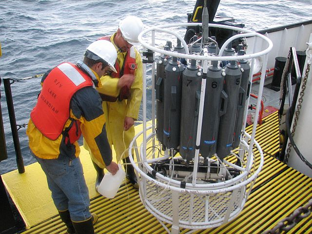 CTD and the Rosette samples on Lake Superior